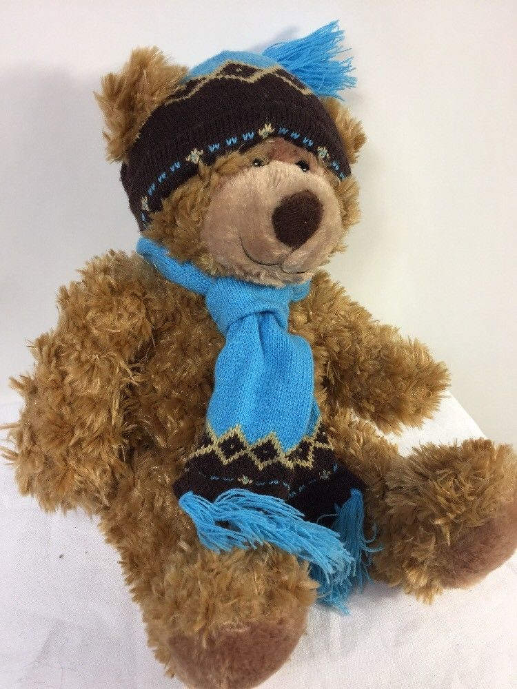 "Mary Meyer Plush St. Jude Oliver Bear 16"" Stuffed Animal in Blue Knit Hat Scarf image 3"
