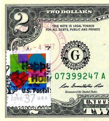 MONEY US $2 DOLLARS 2013 STAMP CHICAGO CANCEL LOVE PETS GERBILS GEM UNC image 4