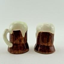 Beer Mug Froth Stein Vtg Ceramic Salt & Pepper Shakers Set Bar Tavern Ma... - $11.85