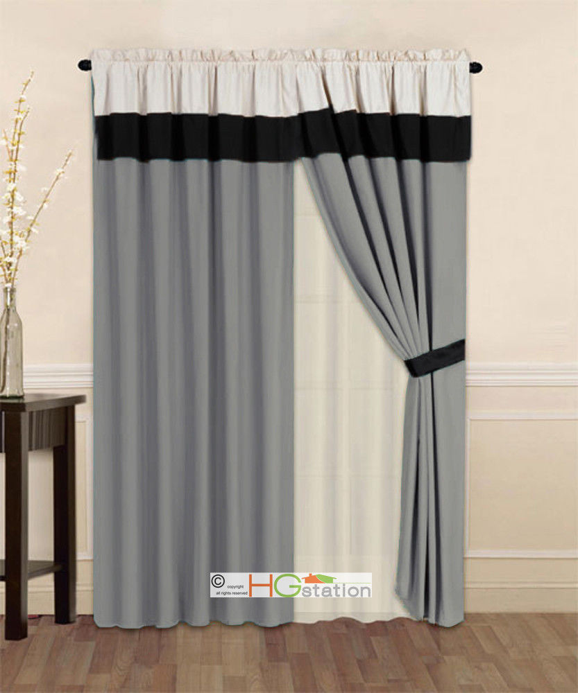 Primary image for 4-P Striped Solid Modern Curtain Set Silver Gray Black Beige Valance Liner Drape