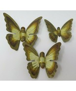 Vintage 1970s Set of 3 Gold Colored Cut Etched Metal Wings Open Butterflies - $18.95