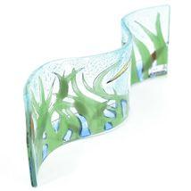 Fused Art Glass Blue Heron Cattails Wavy Decor Sun Catcher Handmade in Ecuador image 3