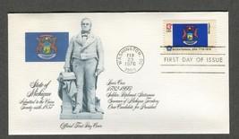 Feb 23 1976 State Flags: Michigan #1658 FDC Fleetwood - $5.49