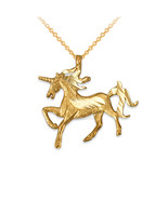 10K Yellow Gold Galloping Unicorn DC Charm Necklace - $59.99+