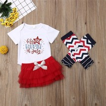 baby girl clothes Baby Girls July 4th Independence Day Bodysuit Tutu Ski... - $9.39