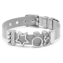 TOGORY 2019 New Fashion Stainless Steel Mesh Bracelet Set LOVE Double Heart Char - $12.69