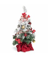 Delt Snow Covered White Green Tree with Ornament Light-Up Decorative Tab... - $24.12