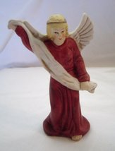 "Vintage Ceramic Angel Red Gown White Sash 4 1/2"" - $14.99"