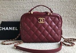 AUTHENTIC CHANEL 2018/2019 RED LEATHER QUILTED 2-WAY HANDLE BAG GHW
