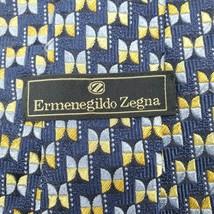 ERMENEGILDO ZEGNA Blue Gold Geometric 100% Silk Necktie Made in Italy - $16.39
