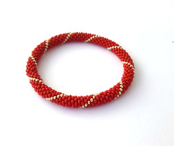 Bead Crochet Rollen Beaded Bracelet Red Gold Bangle Wristband for women - $8.00+