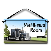 "Semi Truck, 18-Wheeler, Kids Door Sign, 5.5"" x 10.5"", Personalized Name ... - $13.00"
