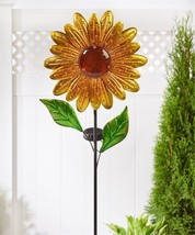 "42"" Sunflower Design Solar Lighted Garden Stake Single Pronged NEW"
