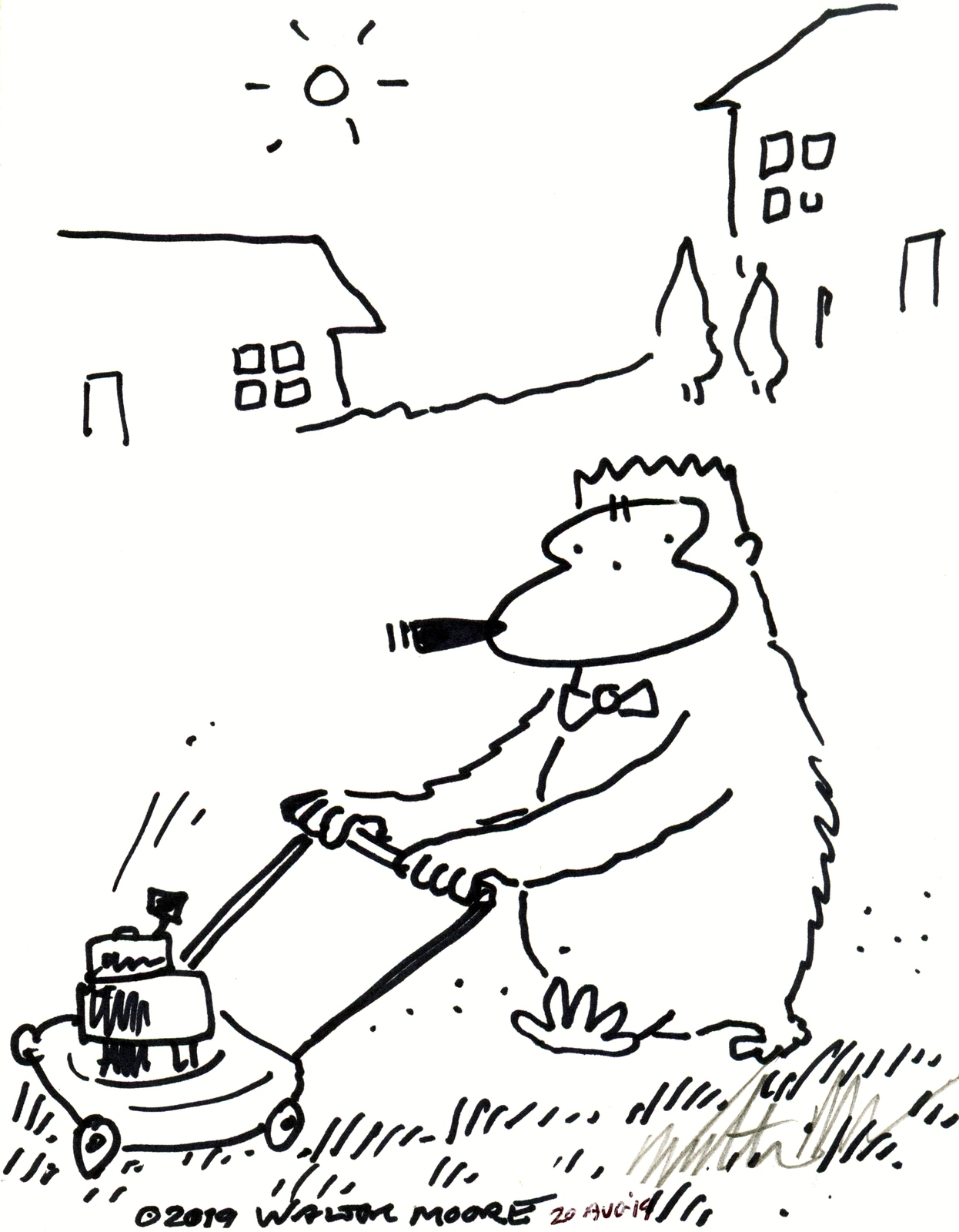 Primary image for Cigar Ape Pushes Lawnmower. Original Signed Cartoon Art by Walter Moore