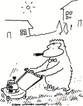 Cigar Ape Pushes Lawnmower. Original Signed Cartoon Art by Walter Moore - $8.00