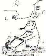 Cigar Ape Pushes Lawnmower. Original Signed Cartoon Art by Walter Moore - $8.00
