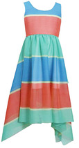 Bonnie Jean Big Girl Tween 7-16  Colorblock Stripe Chiffon Hanky Hem Maxi Dress