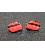 Vintage Pop Art Pierced Earrings Layed Plastic Jewelry Deco Red Black - $24.95