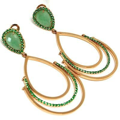 DROP EARRINGS ROSE GOLD 750 18K, DROPS JOINTED, AVENTURINE, CLOSING CLIPS