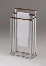 Kings Brand Chrome Metal / Walnut Finish Wood Towel Rack Stand - $53.76