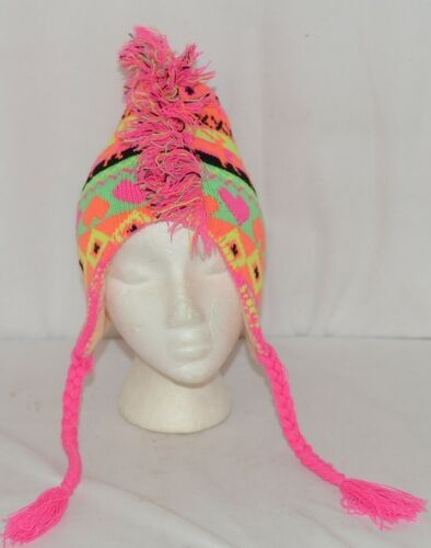 Winter Accessory Bright Multiple Color Mohawk Hat Braided Ties