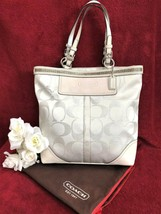 COACH Signature Large Beaded Gallery Tote in Ivory and Silver - Style 10... - $118.79