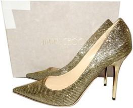 Jimmy Choo 'abel' Pointy Toe Pump Bronze Glitter Gold  Heel Shoe 40 - 9.... - €325,50 EUR