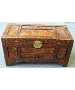 Large Vintage Hand Carved Chinese Camphor Wood Storage Trunk Hope Chest - $1,483.02