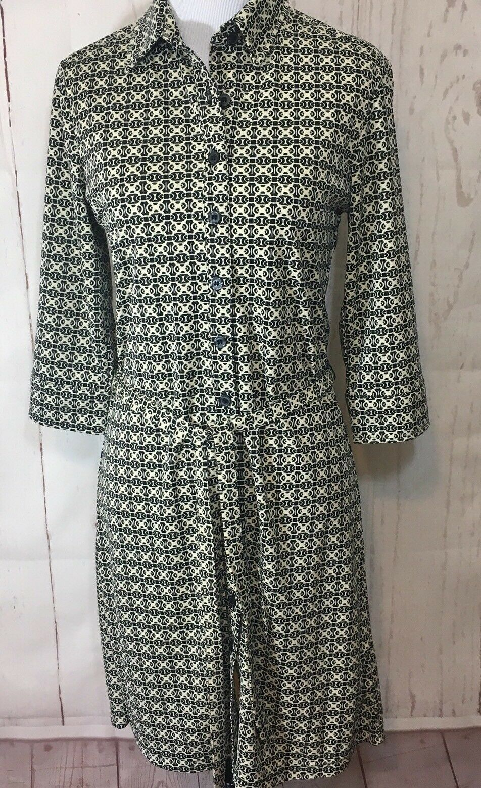 Express Dress Button Down Sz 5/6 3/4 Collared Belted 3/4 Sleeve Career image 9