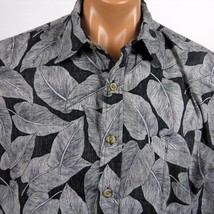 Cooke Street Hawaiian Aloha Camp Shirt Mens L Black Reverse Print Leaves - $18.69