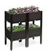 Set of 4 Elevated Flower Vegetable Herb Grow Planter Box-Brown - Color: ... - $169.42