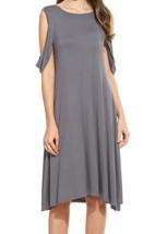 Meaneor Women's Cold Shoulder Ruffle Sleeve Casual Beach Swing Dress Gra... - $14.85