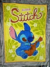 Disney Lilo & STITCH Aloha Throw Blanket Yellow Guitar 40x55 SOFT Hawaii... - $24.38