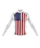 American Flag V2 White Novelty Cycling Jersey Long Sleeve - $32.62+