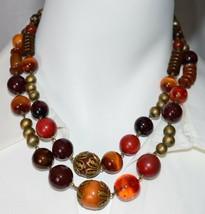 VTG Gold Tone Amber Topaz Jasper Colored Glass Bead Beaded Choker Necklace - $29.70