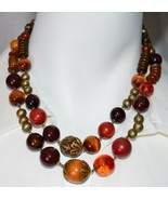 VTG Gold Tone Amber Topaz Jasper Colored Glass Bead Beaded Choker Necklace - $29.70