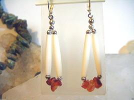Beautiful Northern Cheyenne Orange Carnelian Nugget & White Hairpipe Ear... - $5.00