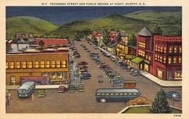 MURPHY, North Carolina NC   TENNESSEE STREET SCENE-Night  Busses~Stores ... - $4.86