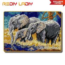 Latch Hook Rug Kits Elephant Family Crocheting Carpet Rug 100% Acrylic Y... - $89.99+