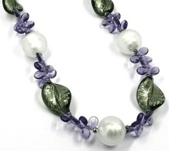 NECKLACE PURPLE PETALS DROPS, SATIN SILVER SPHERE SPIRAL WAVE MURANO GLASS ITALY image 2