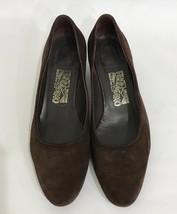 Salvatore Ferragamo Brown Suede Low Block Heel Shoes Round Toe Flats Siz... - $92.25