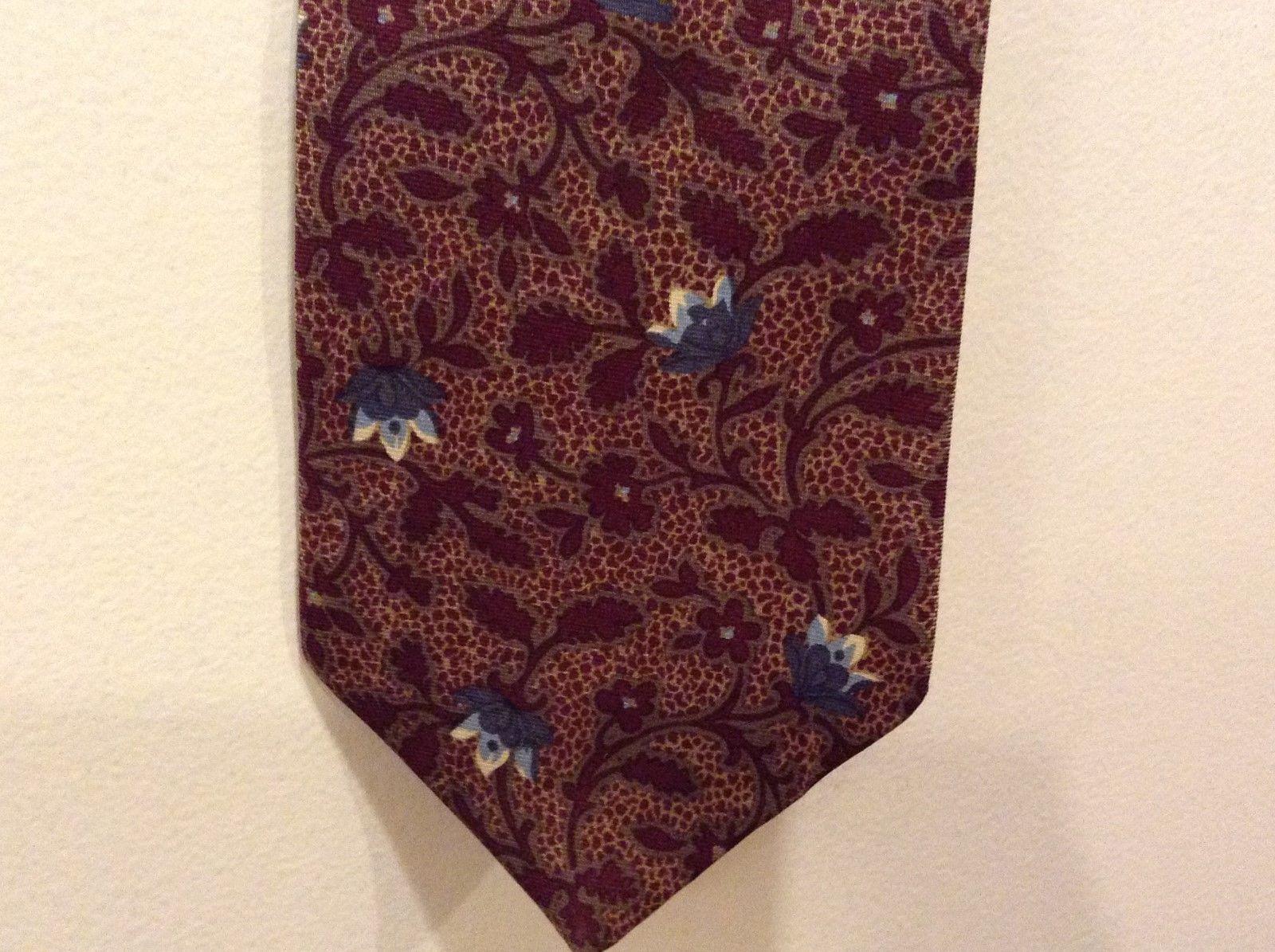 GAP Maroon Blue Lt Blue Beige Floral Imported Silk Neck Tie