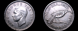 1952 New Zealand 6 Pence World Coin - $9.99