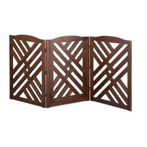 Solid Wood Walnut Finish Lattice 3 Panel Freestanding Pet Gate Fence Bar... - $158.35