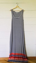 OLD NAVY Black & White w/ Color Pop Striped Long Maxi Dress Women's Size... - $20.56