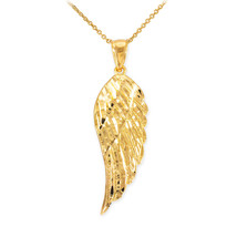 14k Yellow Gold ANGEL WING Pendant Necklace Size (M) Medium - $215.59+