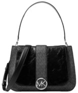 Michael Kors Lillie Signature Polished Top-Handle Satchel (Black/Silver) - $316.80