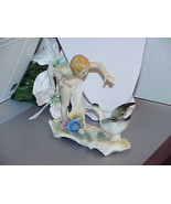 KARL ENS VOLKSTEDT GERMANY FIGURINE NUDE LITTLE GIRL W/ GOOSE c 1919 - $287.09