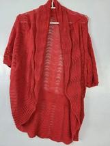 Beatrix Ost Womens Sweater Size Large Orange Short Sleeve Open Knit Card... - $19.99