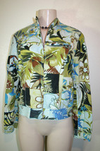 Chicos 0 =(Size Small 4-6) Blue Green Floral Print Long Sleeve Zip Front... - $9.03